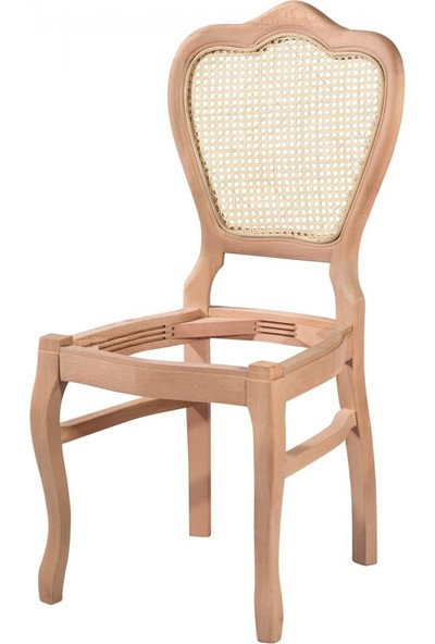 Masifart 7170 Hasırlı Klasik Sandalye Cilasız Ahşap