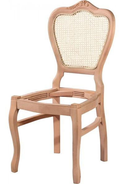 Masifart 7171 Hasırlı Klasik Oymalı Sandalye Cilasız Ahşap