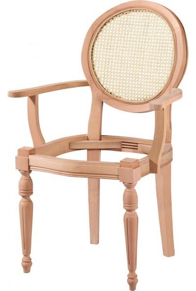 Masifart 7177 Hasırlı Kollu Yuvarlak Sandalye Cilasız Ahşap