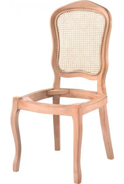 Masifart 7186 Hasırlı İtalyan Sandalye Cilasız Ahşap