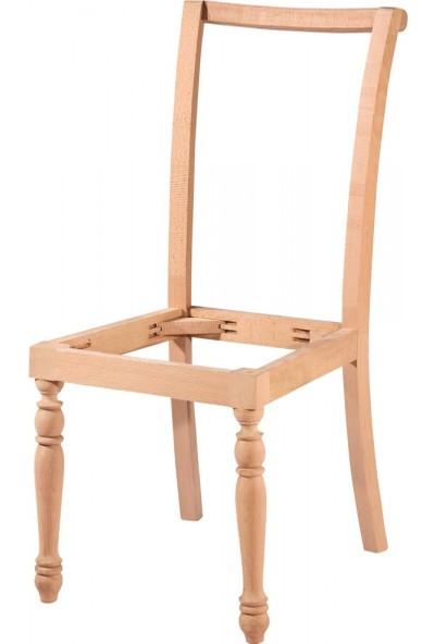 Masifart 7190 Giydirme Sandalye Tornalı Cilasız Ahşap