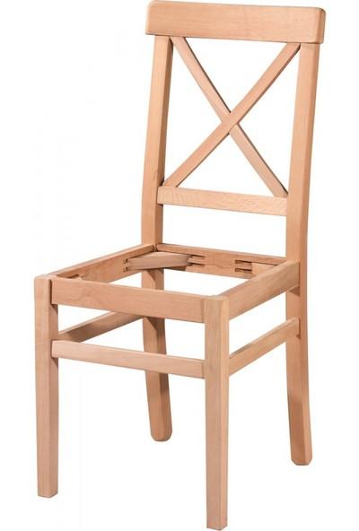 Masifart 7199 Çapraz Döşemeli Sandalye Cilasız Ahşap