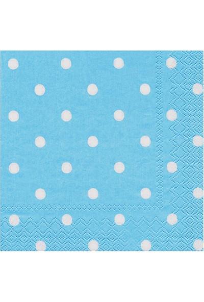 Poppy Peçete Mavi Puantiyeli 100 Adet(5 Paket)