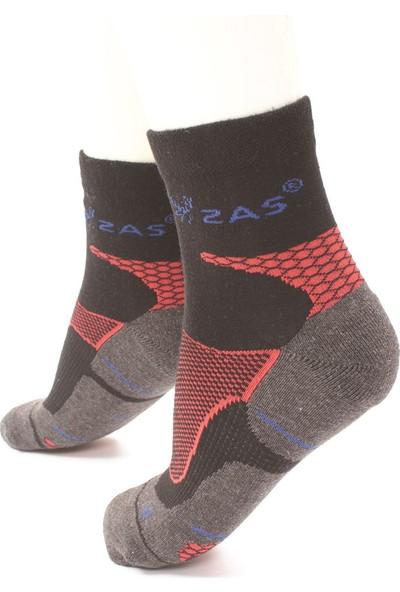 2AS - Coolmax Koton Trekking Çorap Siyah - Kırmızı