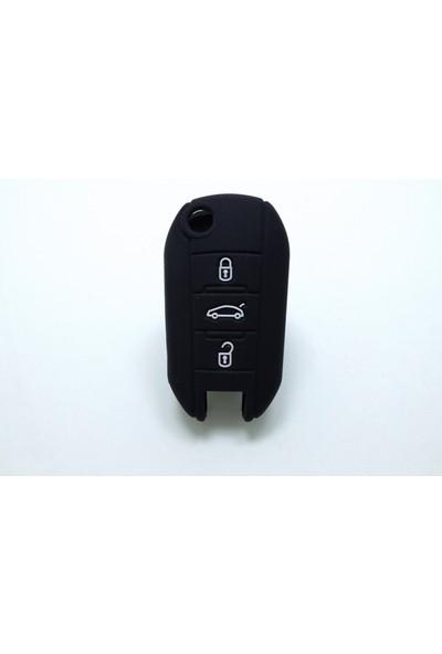 Gsk Peugeot 308 Anahtar Kabı Koruyucu Silikon Kılıf 3 Tuş (Siyah)