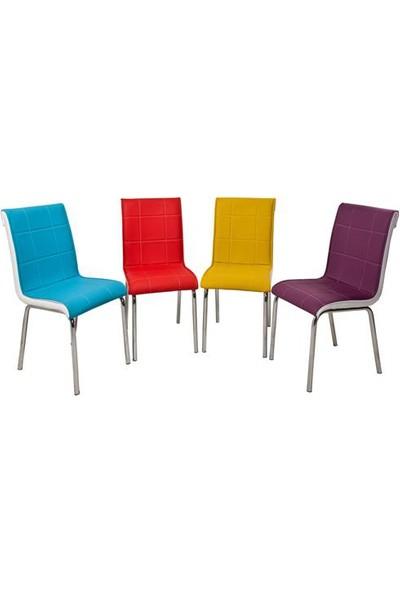 Osmanlı Mobilya 4 Adet Pedli Sandalye Gökkuşağı Renkler