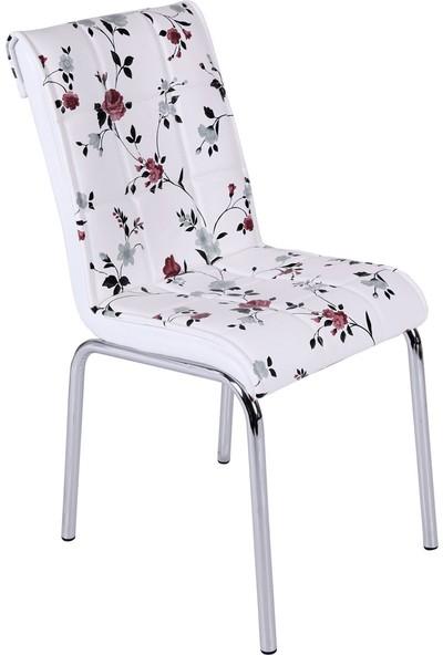 Osmanlı Mobilya 4 Adet Pedli Sandalye Lila Çiçek