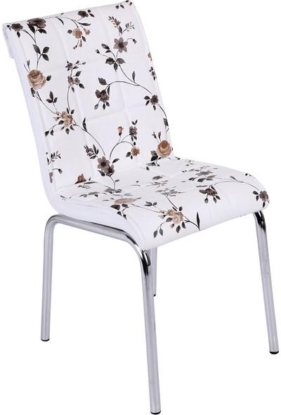 Osmanlı Mobilya 4 Adet Pedli Sandalye Kahve Çiçek
