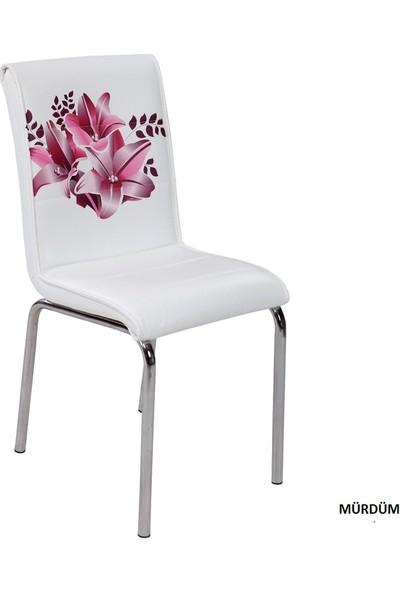 Osmanlı Mobilya 4 Adet Pedli Sandalye Mürdüm Çiçek