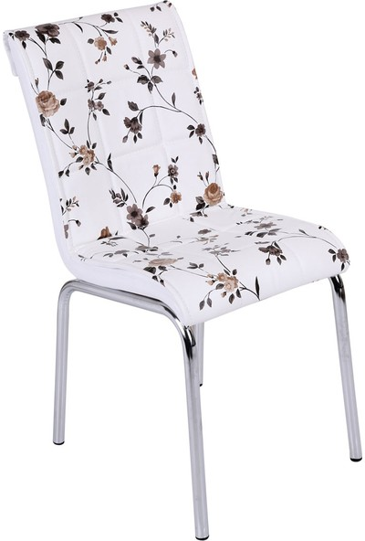 Osmanlı Mobilya 6 Adet Pedli Sandalye Kahve Çiçek