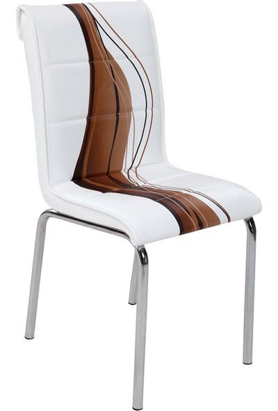 Osmanlı Mobilya 6 Adet Pedli Sandalye Kahve Dalga