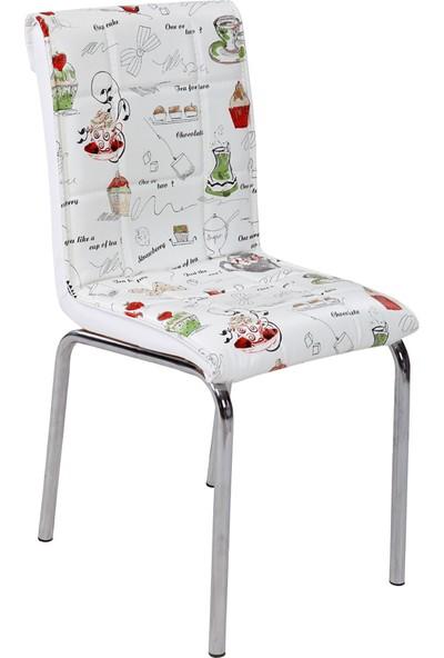 Osmanlı Mobilya 6 Adet Pedli Sandalye Latte