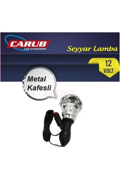 Carub Seyyar Lamba 12V Krom Metal Kafesli