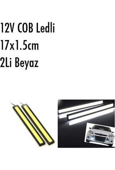 Nettedarikcisi Gündüz Farı Sis Lambası Cob Power Ledli Beyaz 2'li 17Cm