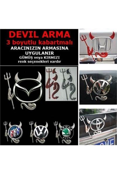 Nettedarikcisi Ozy Devil Sticker Şeytan Arma 3 Boyutlu Gümüş Renk