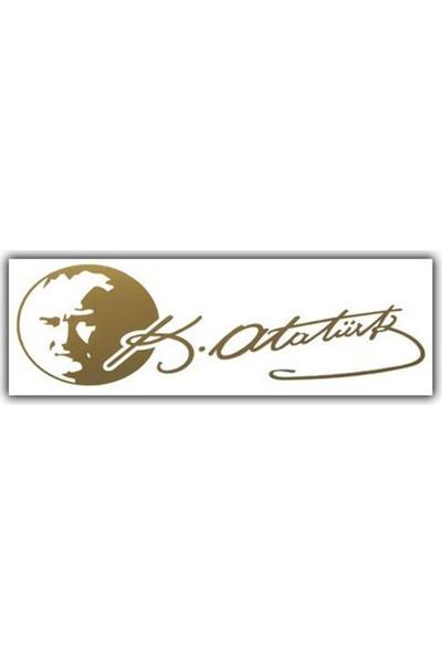 Nettedarikcisi Ozy Atatürk İmzalı Yazı Araba Oto Sticker (7Cm * 19Cm )
