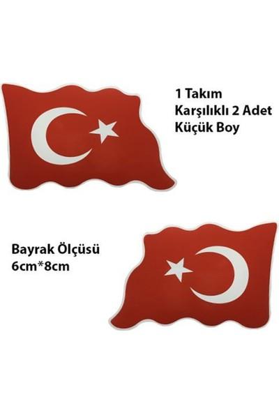 Nettedarikcisi Ozy Türk Bayrağı Dalgalı Küçük Oto Sticker 1 Takım 6Cm*8Cm