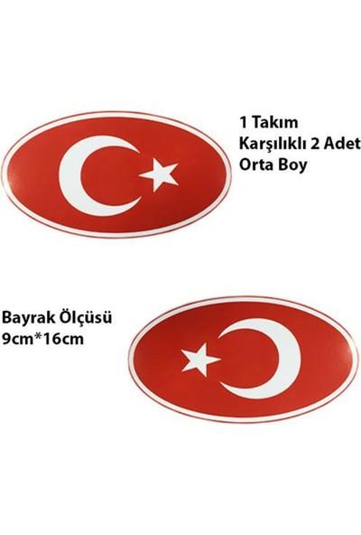 Nettedarikcisi Ozy Türk Bayrağı Yuvarlak Orta Oto Sticker 1 Takım 9Cm*16Cm