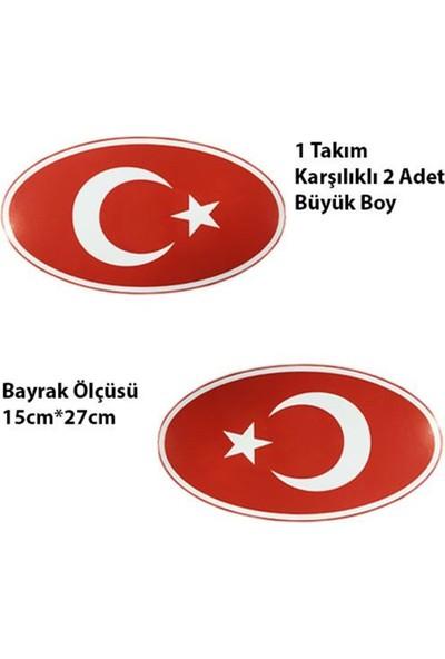 Nettedarikcisi Ozy Türk Bayrağı Yuvarlak Büyük Oto Sticker 1 Takım 15Cm*27Cm