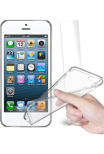 Fuqqa Apple İphone 5 Ekran Koruyucu + Şeffaf Silikon Kılıf
