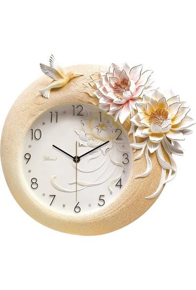 Ultima Ultıma Kabartma Çiçek Desenli Duvar Saati 1008 P