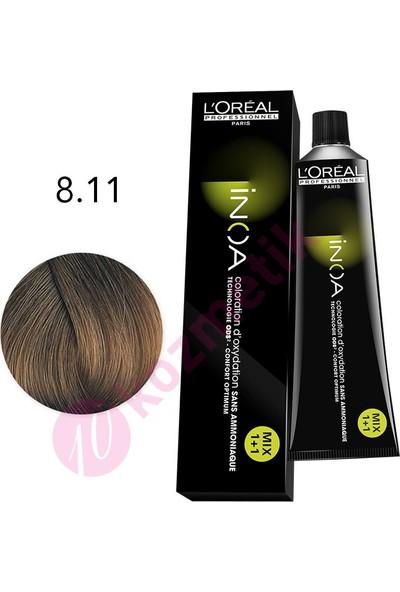 L'Oréal Professionnel İnoa Amonyaksız Saç Boyası No: 8.11 60Ml.