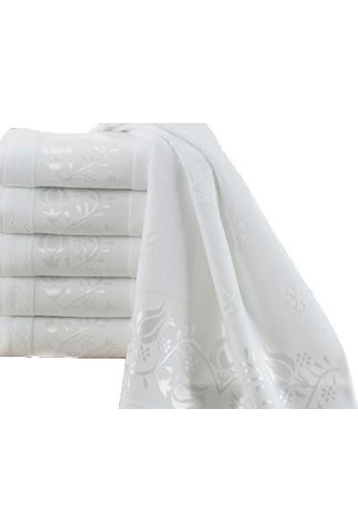 Fiesta 12'Li Kadife Jakarlı Beyaz Havlu Vuslat Punch