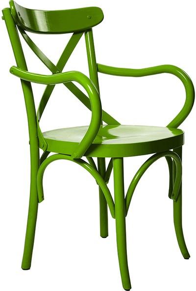 Ak Sandalye Kollu Thonet Sandalye Yeşil