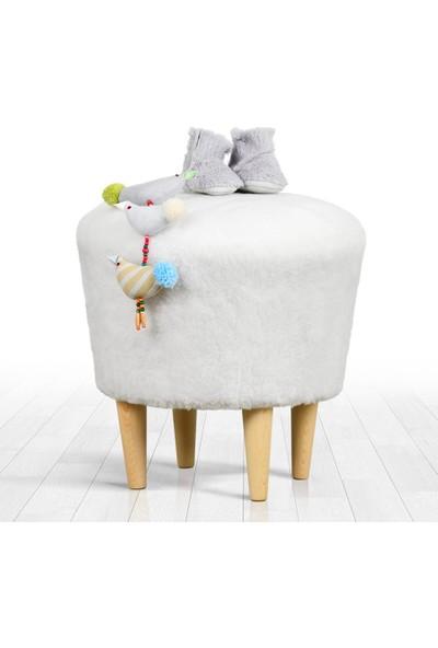 Lorence Home Sheep Puf - Beyaz Yuvarlak