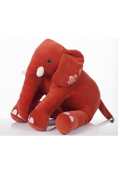 Zoziko Peluş Oturan Dişli Fil 50 cm Kırmızı