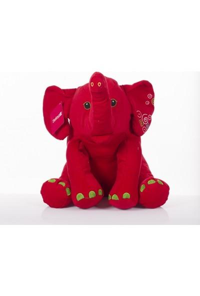 Zoziko Peluş Oturan Fil 50 cm Kırmızı
