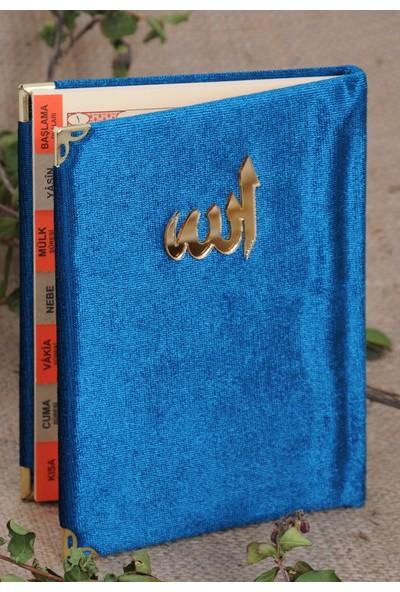 Ekonomik Kadife Kaplı Yasin Kitabı - Allah Lafızlı - Cep Boy - Lacivert-1123