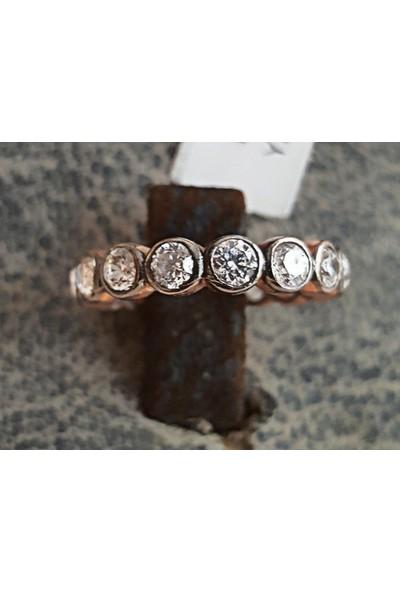 Tyelotakı, Gümüş Rose Kaplama, Elmas Modeli, Zirkon Taşlı, Tamtur Yüzük