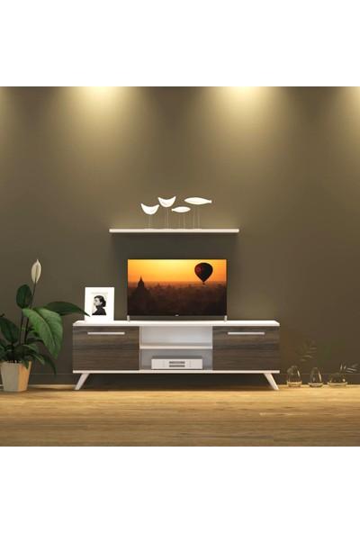 Nur Mobilya 140 cm Tv Sehpası Gövde Beyaz Kapak Ceviz