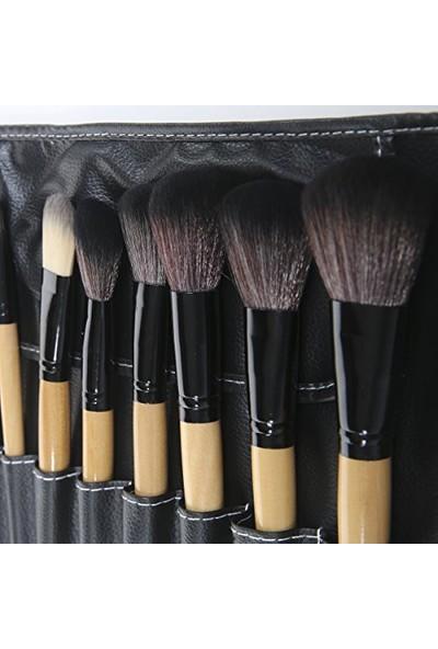 Hannah Siyah 1. Sınıf Ahşap Saplı 32 Parça Makyaj Fırça Seti