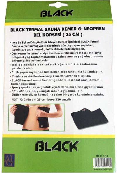 Black 25X120 Cm Termal Sauna Kemer Neopren Bel Korsesi