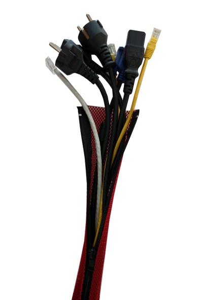 3E Fermuarlı Isıya Dayanıklı Kablo Toplayıcı Kılıf Kırmızı 1 Metre