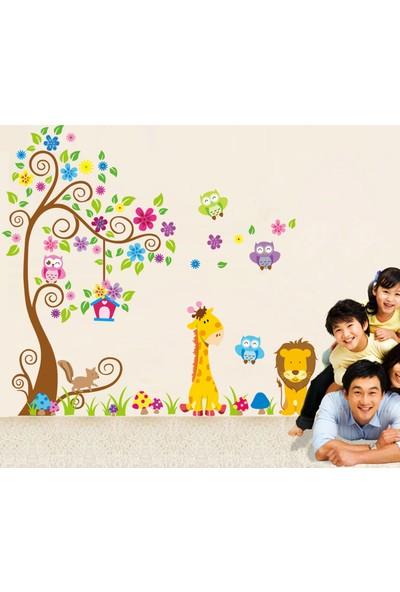 Zooyoo Çocuk Ve Bebek Odası Aslan Zürafa Baykuş Orman Ağaç Büyük Görsel Duvar Sticker 162X131 Cm