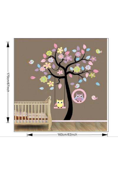 Zooyoo Çocuk Ve Bebek Odası Salıncaklı Canlı Renkler Orman Ağaç Büyük Görsel Duvar Sticker 170X160 Cm