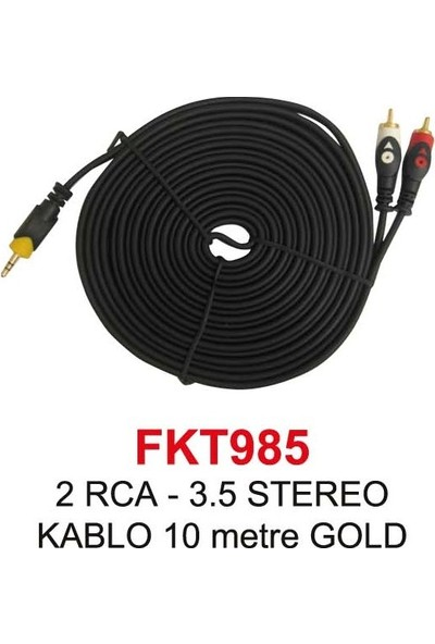 2Rca - 3,5Mm Stereo Kablo 10 Metre Gold