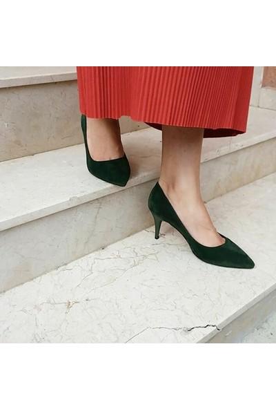 Pembe Potin Yeşil Süet Ayakkabı