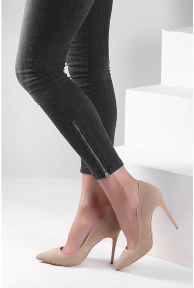 Pembe Potin Bej Nubuk Ayakkabı