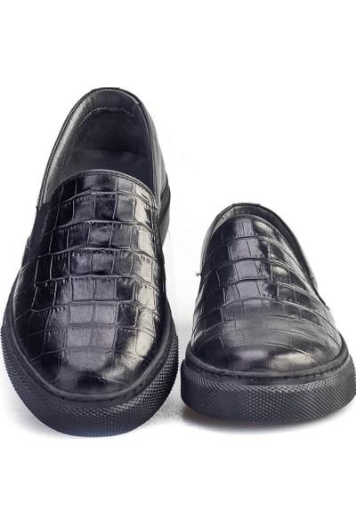 Cabani Bağcıksız Sneaker Kadın Ayakkabı Siyah Croco Deri