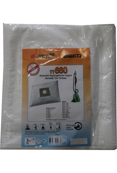 Arçelik S 6670 Elektrikli Süpürgeye Uygun Sentetik Toz Torbası
