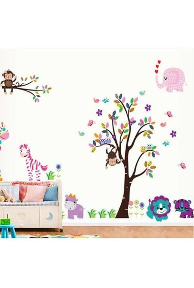 Yiwu Tamila Bebek Ve Çocuk Odası Zebra Fil Maymun Aslan Baykuş Su Aygırı Kuşlar Görsel Duvar Sticker 280X160Cm