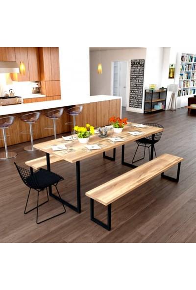 Endustriyel Mobilya Mandalina Yemek Odası Takımı