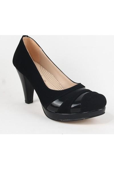 Yeystore Desniy 47 Bayan Süet Topuklu Ayakkabı Siyah