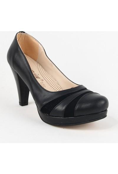 Yeystore Desniy 48 Bayan Cilt Topuklu Ayakkabı Siyah