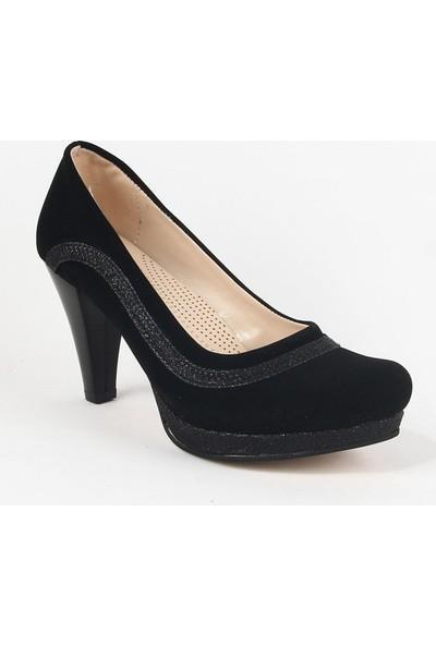 Yeystore Desniy 49 Bayan Süet Topuklu Ayakkabı Siyah