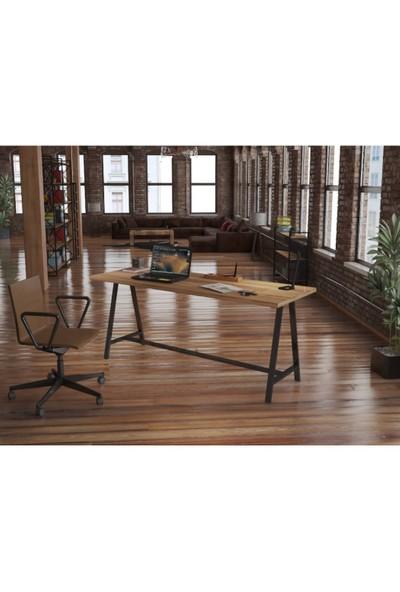 Endüstriyel Mobilya Kahve Masif Çalışma Masası 180 cm